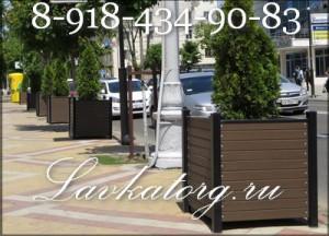 Уличные деревянные ящики на металлокаркасе для крупных растений