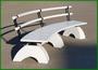 Скамейки радисные из дерева лиственница на бетоне СБл-рт