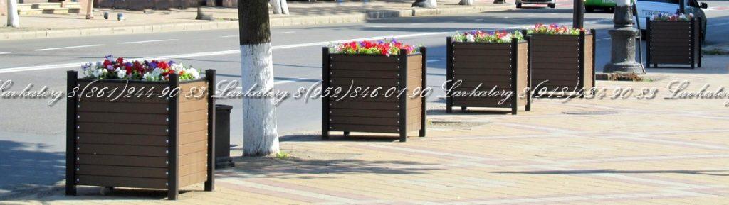 Кашпо уличные большие деревянные на металлокаркасе