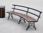 Радиусные скамейки со спинкой из лиственницы