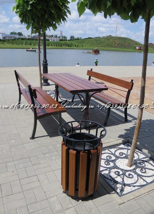 Стол и лавочки для летних кафе из дерева лиственницы и металла от ЛАВКАТОРГ 8(861)244-90-83