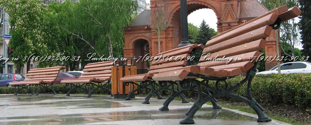 Парковые скамейки чугунные опоры и сиденье из лиственницы
